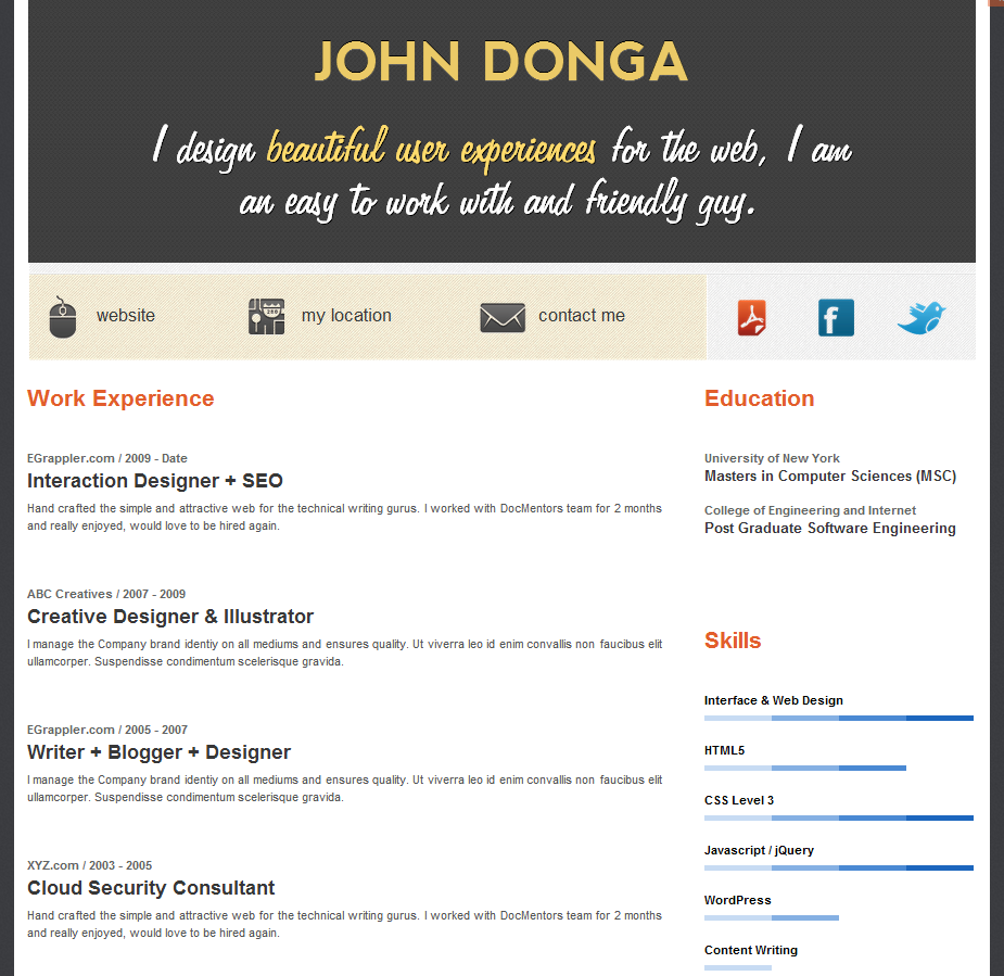 free wordpress resume theme  create an online resume in