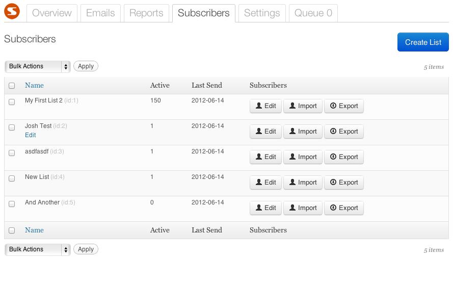 SendPress list management