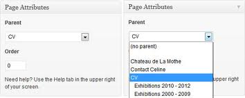 Setting subpage parent in page attributes