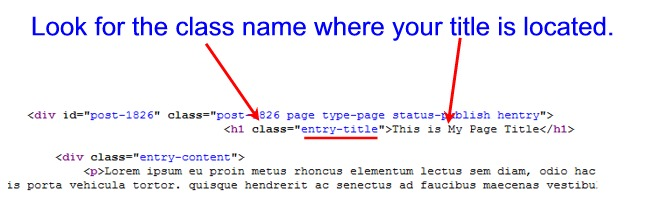WordPress Page Title CSS Class Code