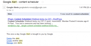 Better Support-Typical Google Alerts email in webmail client
