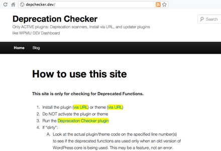 Plugins to check for WordPress deprecated functions