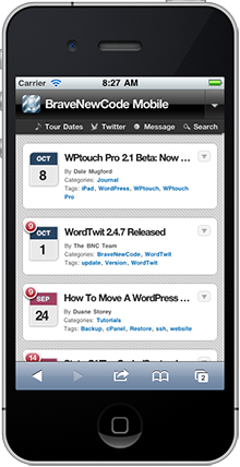 WPtouch example screenshot