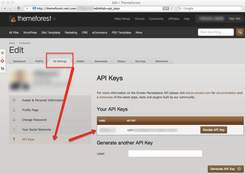 Setup your Envato API Keys