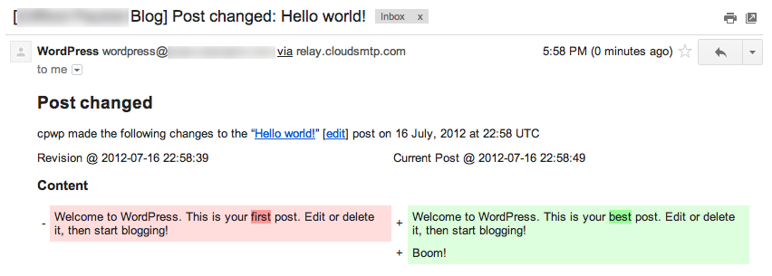 WordPress 'diff' email for post changes