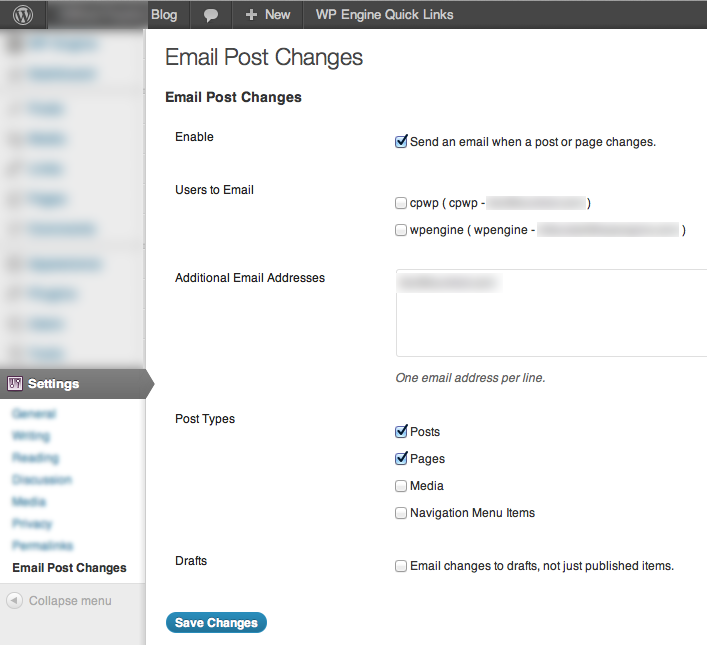 "WP-Admin settings for ""Email Post Changes"" plugin"