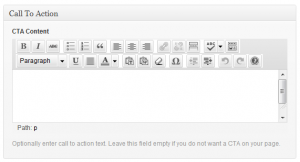 Animate WordPress-Screenshot of call to action box on edit screen