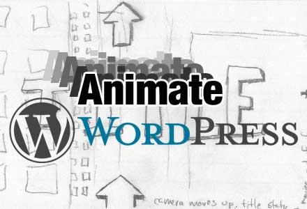 Animate WordPress-image of WordPress logo over title sequence storyboard