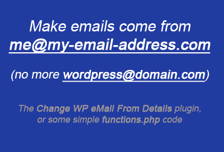Change the WordPress from email address