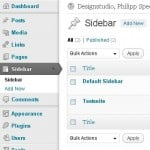 WordPress Sidebar - Screenshot of Custom Sidebar plugin admin menu