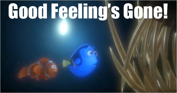 Still from Nemo animated movie - good feeling's gone!