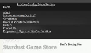 WordPress Menu-Screenshot of header menu without proper CSS