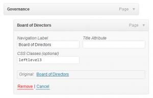 WordPress Menu-Screenshot of menu item with additional custom class field