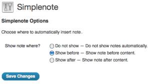 Simplenotes plugin option screen