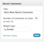 WordPress Sidebar - Screenshot of Widget Logic plugin