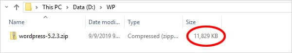 Screenshot of WordPress file size