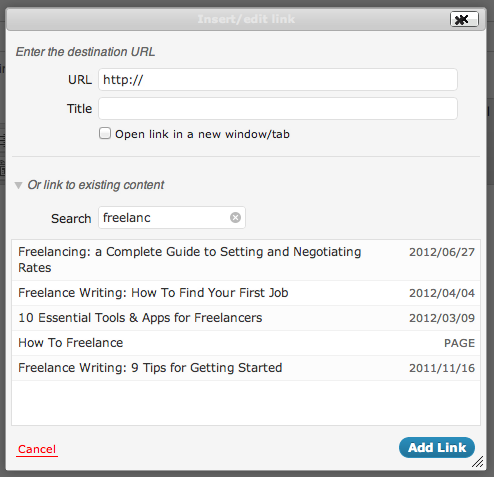 WordPress Internal Link Search