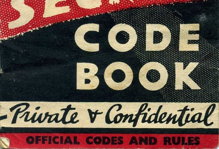WordPress Shortcodes-Cover of an old-school secret code club book