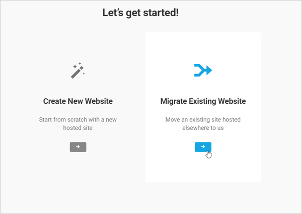 WPMUDEV hosting setup migrate existing website screen