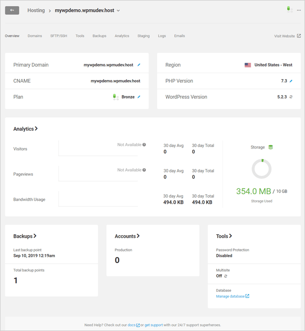 WPMU DEV's hosting dashboard.