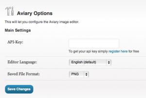 Image Editor-Screenshot of Aviary Editor Settings