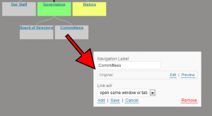 WordPress Menu Tree-Screenshot of menu item detail dialog