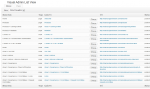 WordPress Menu Tree-Screenshot of Visual Site Manager list view