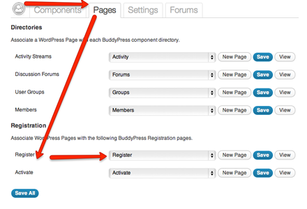 BuddyPress Registration Page settings