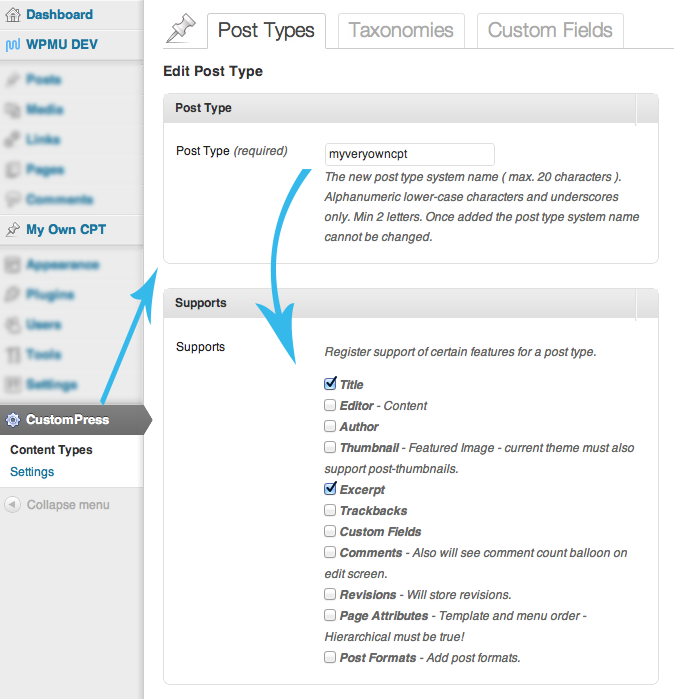 custom write panel options for WPMU DEV CustomPress plugin