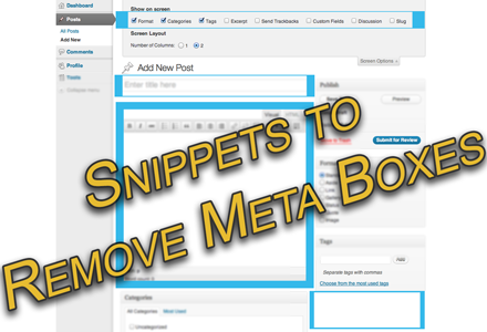 Customize the Page and Post Write Panels by removing meta boxes
