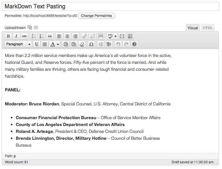 markdown editor pasting is perfect in wordpress