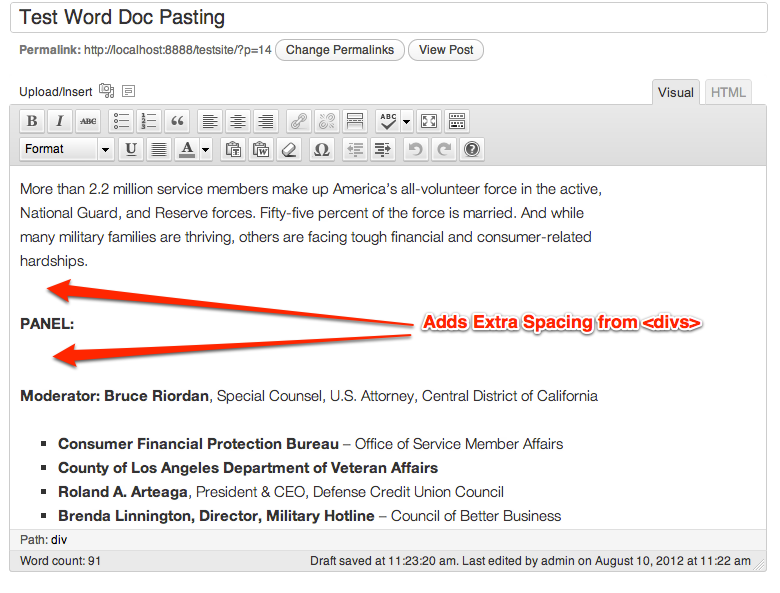 microsoft word pasting into WordPress adds formatting
