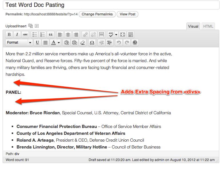 microsoft word pasting into WordPress adds formatting