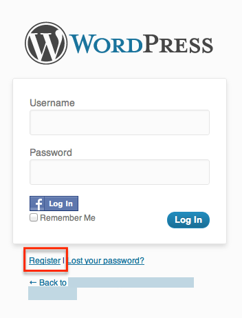 clicking to the wp login php action register page without my snippet will result in the following registration page