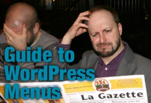 Beginner's Guide to WordPress Menus-Two men confused while reading French menu