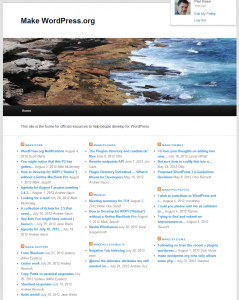 WordPress.org Notifications-Screenshot of the Make WordPress main blog index