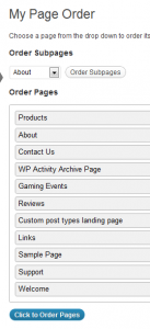 Page Order-Screenshot of typical My Page Order screen