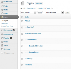 Page Order-Screenshot of WordPress pages list