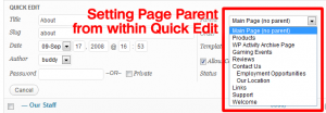 Page Order-Screenshot of Quick Edit for pages