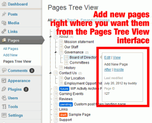 Page Order-Screenshot of Pages Tree View typical layout