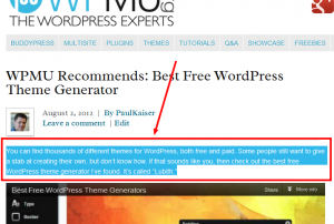 Press This-Screenshot of selected text on a blog page