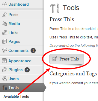 "Press This-Screenshot of ""Press This"" bookmarklet installation"