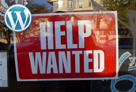 WordPress Jobs-Help Wanted sign