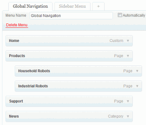 WordPress Menus-Screenshot of menu item editing screen