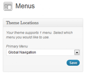 WordPress Menus-Screenshot of theme locations panel