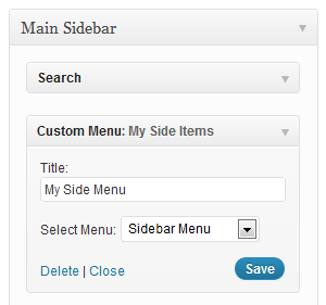 WordPress Menus-Screenshot of Menu Widget setup