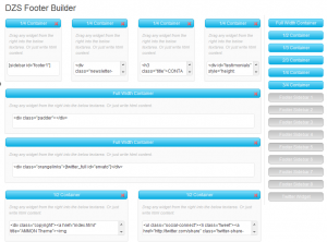 WordPress Themes-Screenshot of Ammon Custom Footer Builder interface