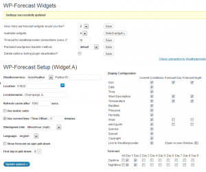 WordPress Weather Widget-Screenshot of wp-forecast settings page