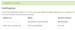 WordPress.org Notifications-Screenshot of active notifications list