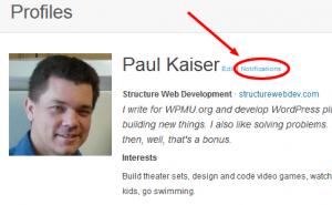 WordPress.org Notifications-Screenshot showing notifications management link